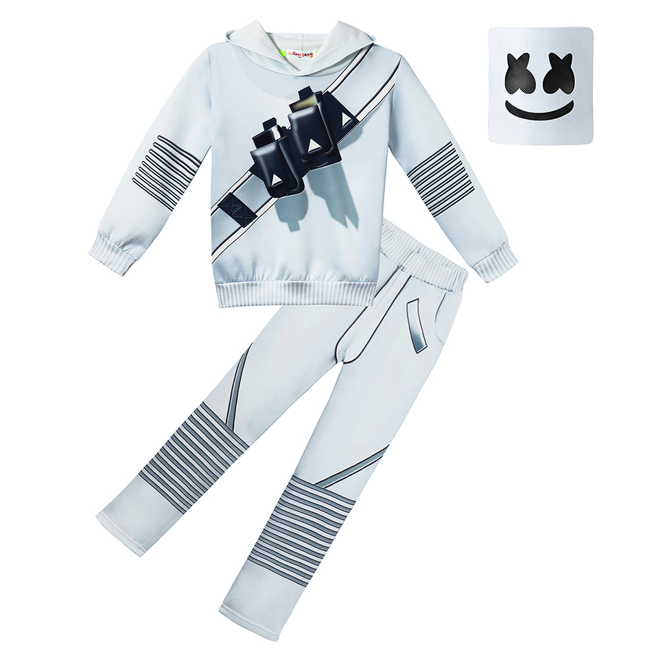 DJ Marshmello Baby Boys Outfits 2019 Spring Autumn Print Hoodies Tops+pants with Mask Sets Fashion Children Suits Kids Clothing