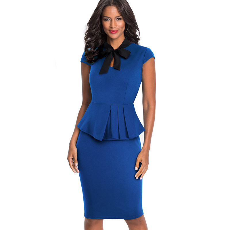 Europe And America New Style Summer Wear Hot Selling Debutante Elegant Solid Color Dress Sheath Ol Stand Collar Pencil Skirt Wom