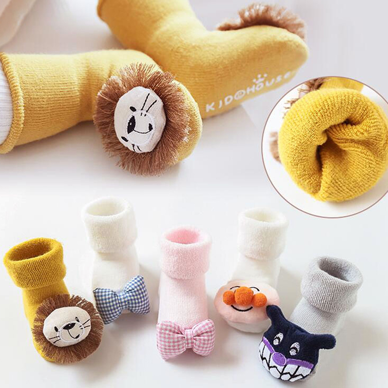 0-6-12month Baby Socks Thicken Cartoon Lion Rubber Anti Slip Foor Cotton Lion Doll Socks Baby Girls Boys Socks Soft Cute Boots