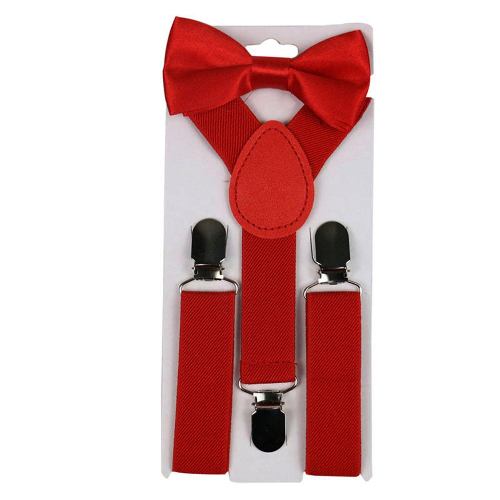 2Pcs/Set Solid Color Kids Boy Girls Clip-ons Y-Shape Elastic Suspenders Bowtie Suspenders Y-Shape Pre-tied Bow Suspenders Hot 20
