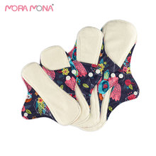 Mora Mona 4Pcs/Set Reusable Bamboo Fiber Sanitary Pads 4 Different Sizes Of Maternity  Absorbent Menstrual Ecological Gaskets
