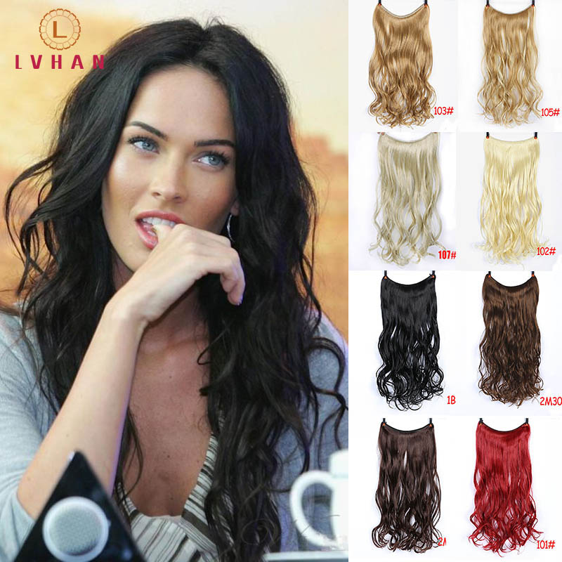 LVHAN Women Long Curly Hair Big Wave One Piece Natural Wig Set U-shaped Seamless Hair Extension Wig Piece Cute Headwear