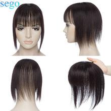 SEGO 8,5x8,5 см прямые человеческие волосы Topper Remy натуральные шиньоны с челкой для женщин маленький парик челка 3 клипсы ins