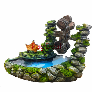 Image 2 - Resin Aquarium Decorations Vintage Style Landscape Waterwheel Bubbles Stone Fish Tank Aquariums Creative Ornament Windmill