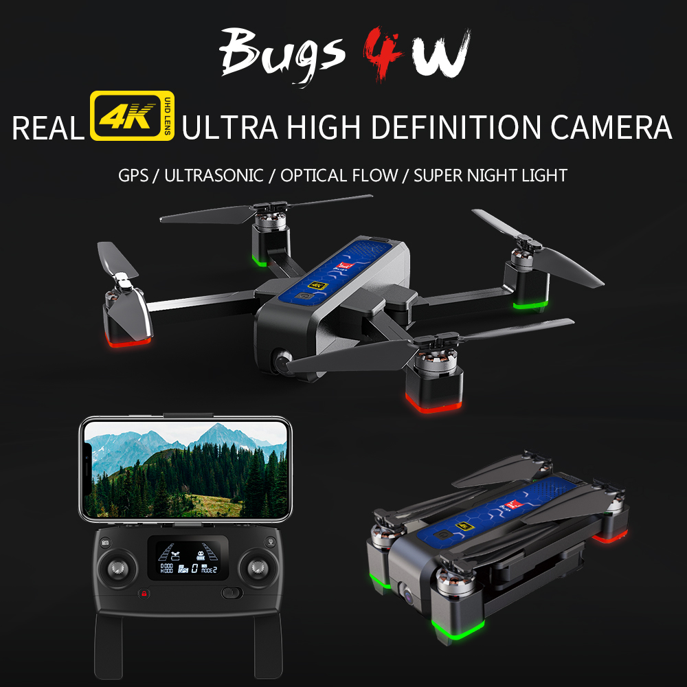 NEW MJX Bugs 4W B4W GPS Brushless Foldable RC Drone 5G Wifi FPV With 4K Camera Anti-shake Optical Flow RC Quadcopter VS F11 Dron