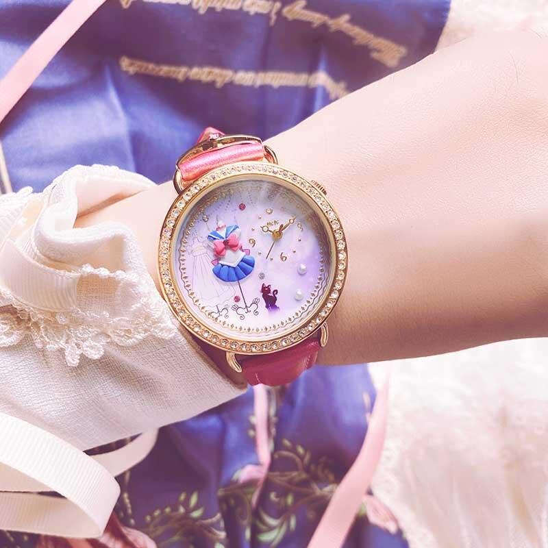 sailor moon Leather Strap wrist watch bracelet luna sailor suit polymer clay design women jewelry