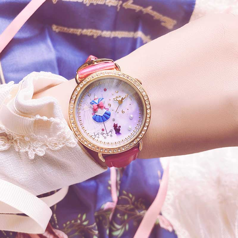 Sailor Moon Leather Strap Wrist Watch Bracelet Luna Sailor Suit Polymer Clay Design Women Jewelry