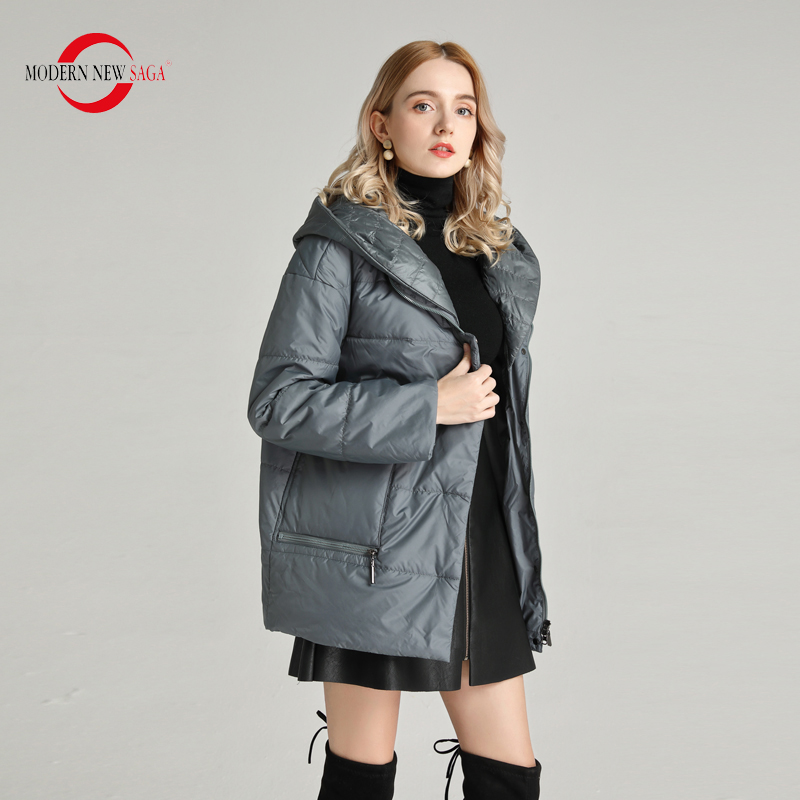 MODERN NEW SAGA 2020 Spring Women Jacket Hooded Thin Padded Jacket Polyester Autumn Warm Women Coat Woman Jackets Plus Size Coat