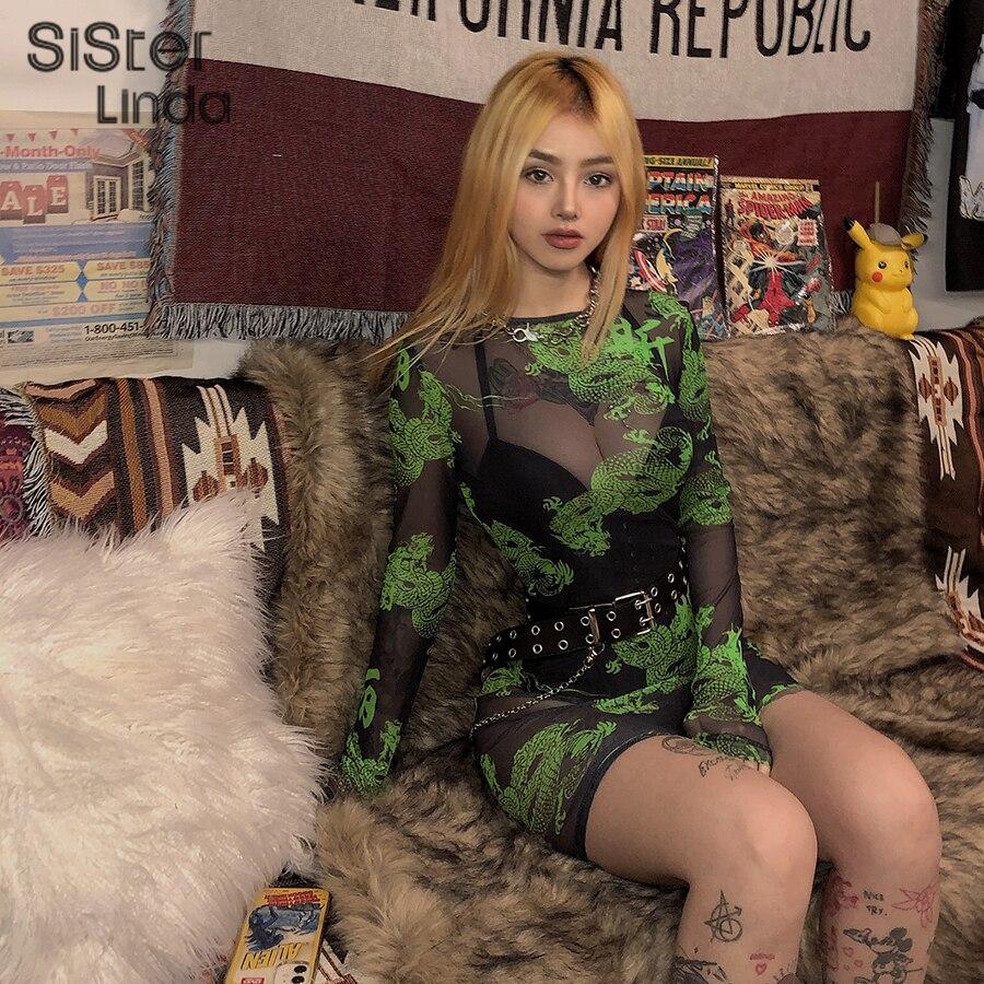 Sisterlinda See-through Sexy Mini Dress Women Letter Dragon Print Bodycon Dress Full Sleeve O-neck Women Dresses Vestidos Mujer