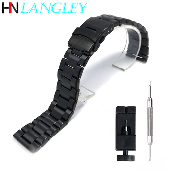Stainless Steel Watch Band 20mm 22mm Black Silver Strap Double Press Safety Buckle Metal Wristband - discount item  40% OFF Watches Accessories