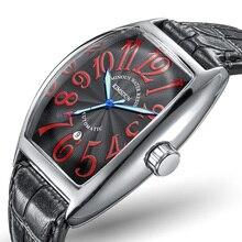 Reloj Mecánico Tonneau de negocios de marca de lujo, reloj de pulsera automático de cuero resistente al agua para hombre, reloj de hombre 2018
