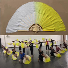 Belly Dance Silk Veil Chinese Traditional Half Circle Bamboo Folding Fan Daner Practice Show Props Competition White Yellow(China)