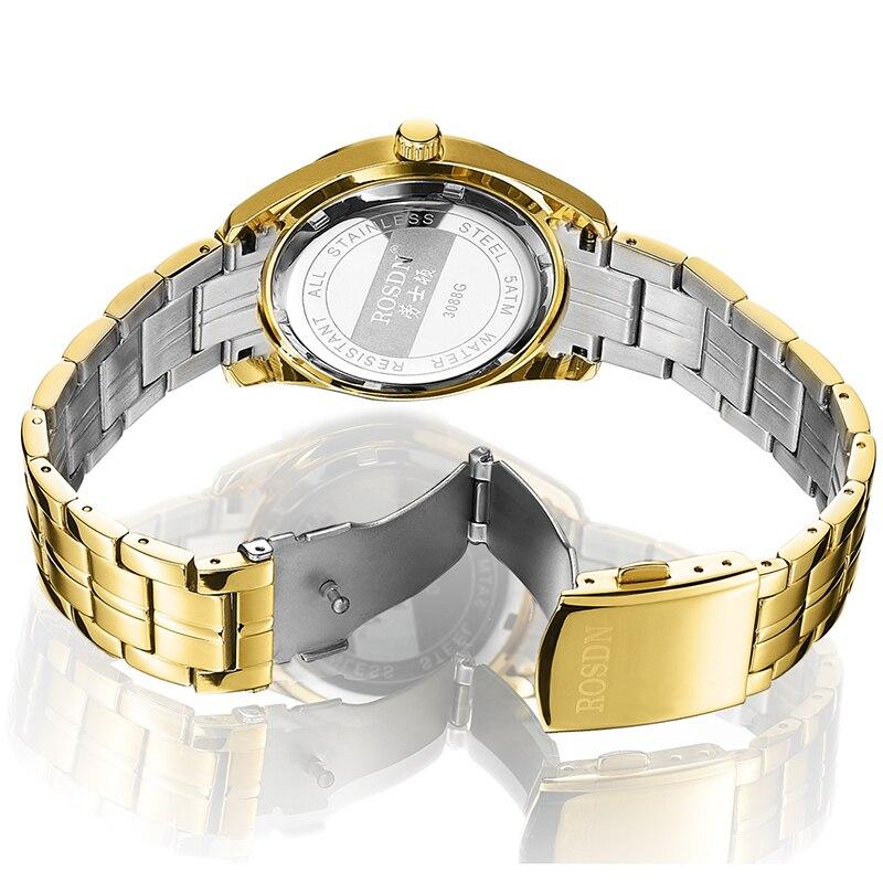 Marque de luxe ROSDN Couple montres japon Quartz mouvement hommes montre 8 mm Ultra mince saphir étanche 18K or montres R3088M - 5