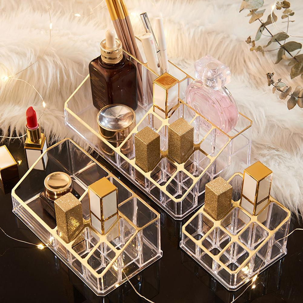 Multiple Grid PS Transparent Makeup Organizer Storage Box Lipstick Nail Drill Polish Organizer Cosmetic Jewelry Box Holder