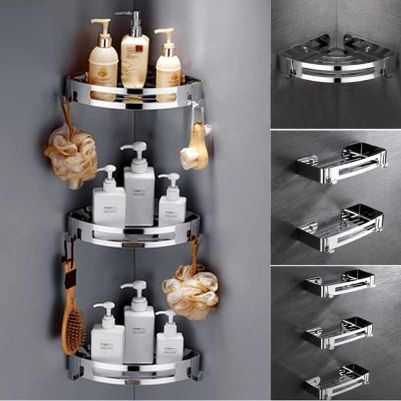 Bathroom Shelves Kitchen Wall Shelf Sucker Wall Mounted Storage Corner Shelf Shampoo Storage Rack With Hook Bathroom Accessories