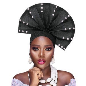 Image 4 - Free shippoing Stoned aso oke headtie headwrap turban africain gele headtie already made