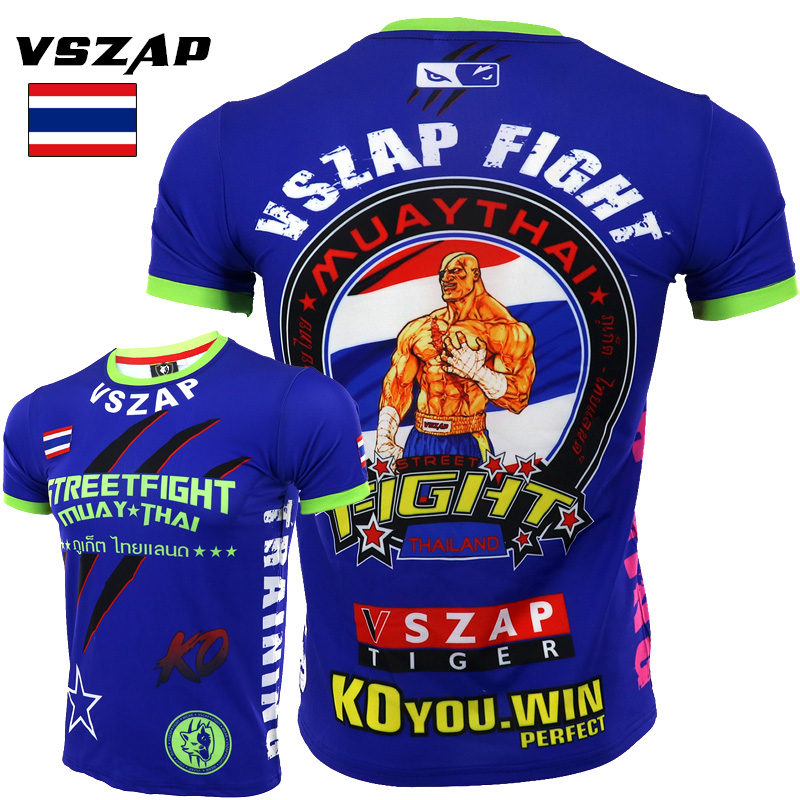 VSZAP MMA Muay Thai Boxing Shorts Muay Thai Muscle Men Sport T Shirt Training Wear Breathable Clothing MMA Shirt Boxing Clothing