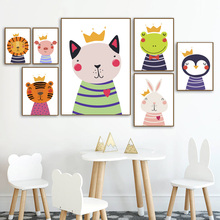 Cartoon Lion Tiger Pig Penguin Dog Nordic Canvas Posters And Prints Wall Art Painting Print Pictures For Kids Room
