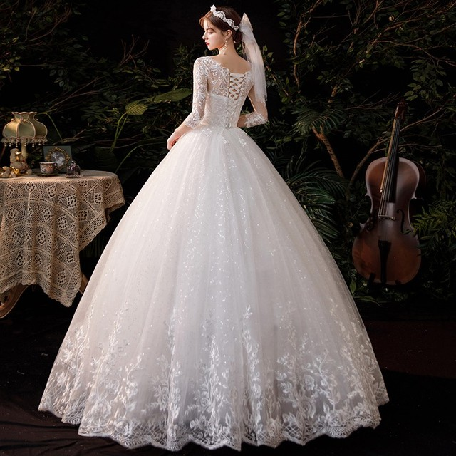 New Sweetheart Three Quarter Elegant Wedding Dress With Sleeve Long Lace Embroidery Train Bridal Gown Plus Size Vestido De Noiva 2