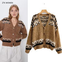 ZA women sweaters 2019 new fashion v neck Contrast color knit cardigan femme autumn casual warm brown sweater top