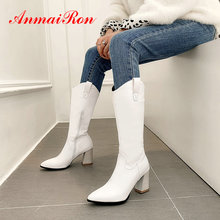 ANMAIRON Women Shoes Fashion PU Riding Equestrian Pointed Toe Winter Boots Square Heel Knee High S Short Plush 34-43