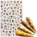 1 шт. микс зеленые листья наклейки для ногтей цветок животное Бабочка 3D клей слайдеры обертывания советы Шарм Искусство Маникюр украшения