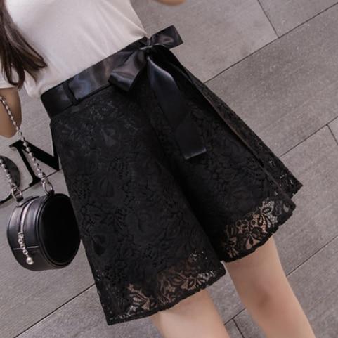 Elegant thin lace shorts women high waist bow tie back zipper sexy women shorts summer wide leg belted short feminino AQ400