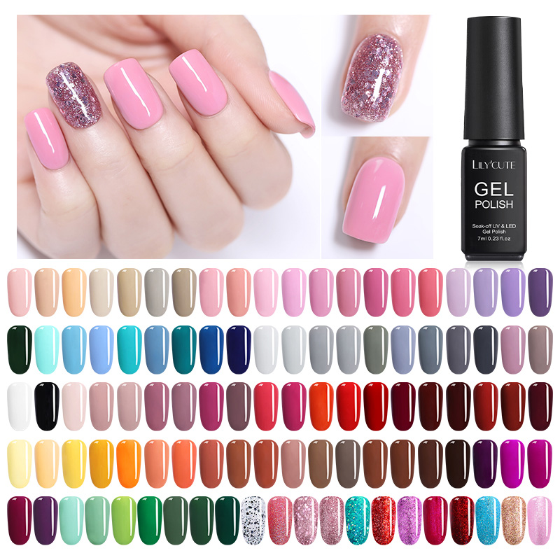 LILYCUTE  7ml  Nail Art Polish Set Soak Off Caramel UV Gel Polish Long Lasting Nail Color Gel Nail Varnish