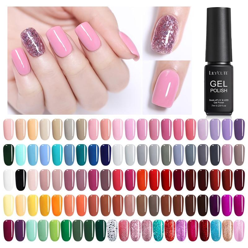 LILYCUTE  7ml  Nail Art Polish Set Soak Off Caramel UV Gel Polish Long Lasting Nail Color Gel Nail Varnish