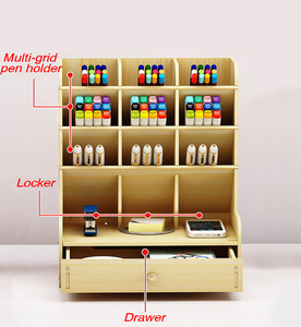 DIY wooden large capacity pen holder storage box fashion multi-frame pen holder creative storage rack stationery office supplies