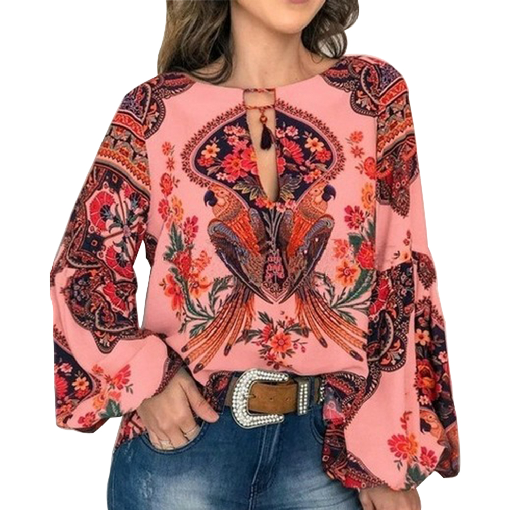 2019 Casual Vintage Shirt Blouse Women Printed Lantern Sleeve Plus Size Womens Tops Loose V Neck Blusas Mujer De Moda in Blouses amp Shirts from Women 39 s Clothing