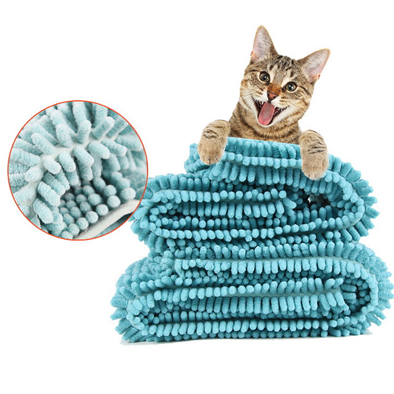 Soft Fiber Pet Absorbent Towel Cat Dog  Bath Towel Fast Dry Super Absorbent Hair Towels Super Large Cute Supplies Blue