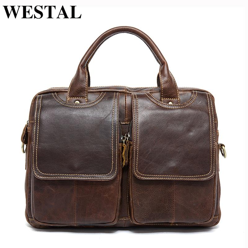 WESTAL Business Men Briefcase Bag Men's Genuine Leather Computer/Laptop Bag Leather Lawyer/office Bags For Men Messenger Bags