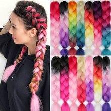 LISI волосы 24 дюйм плетение волос для наращивания Jumbo вязание крючком косы синтетические волосы стиль 100 г/шт. чистый блонд розовый зеленый