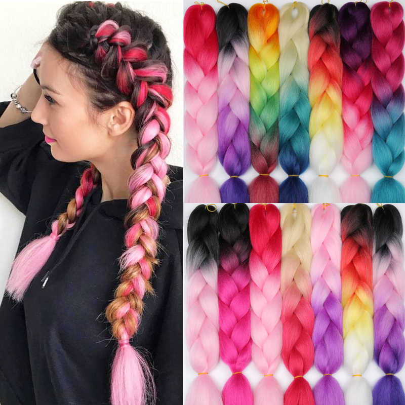 LISI HAIR 24 Inch Braiding Hair Extensions Jumbo Crochet Braids Synthetic Hair style 100g/Pc Pure Blonde Pink Green