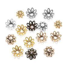 100pcs/lot Silver Gold Bronze Plated Filigree Metal Hollow Flower Spacer Beads End Caps For Jewelry Making Charms Necklace