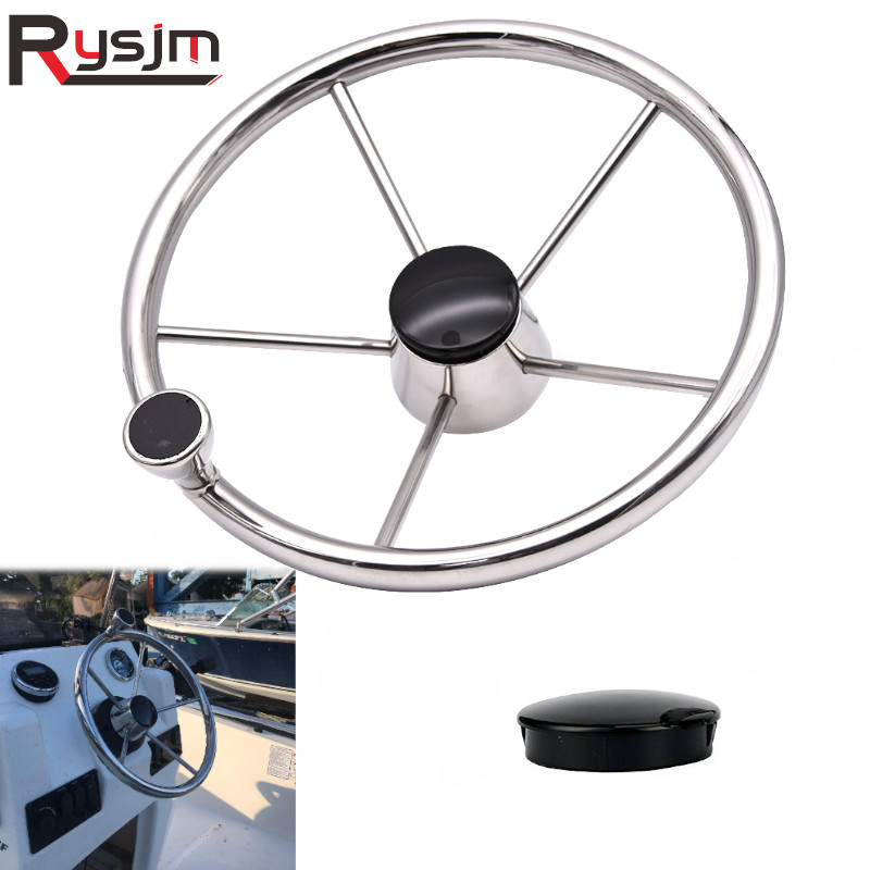 13-1//2/'/' Boat Steering Wheel Stainless 5 Spoke With Knob Heavy Duty Marine