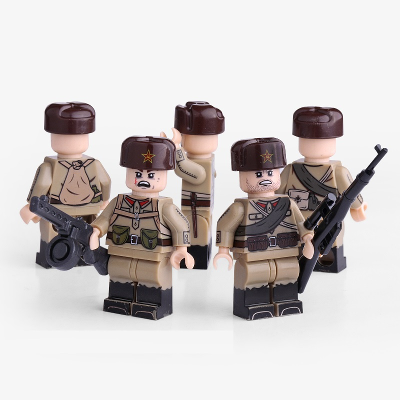 World War II Soviet Soldiers Military Gun Weapons City Police Parts Playmobil Mini Figures Building Block Brick Original Toys