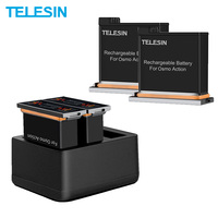 TELESIN 2PACK 1300mAh Battery And 3 Slots Fast Charger With Type C Cable For DJI Osmo Action Battery Set