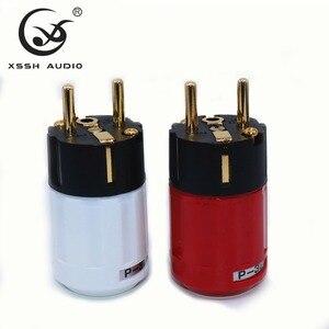 Image 1 - Yivosound HIFI power stecker EU UNS Gold Überzogene Messing Rot Reinem Kupfer Schuko IEC AC power stecker Stecker für power schnur