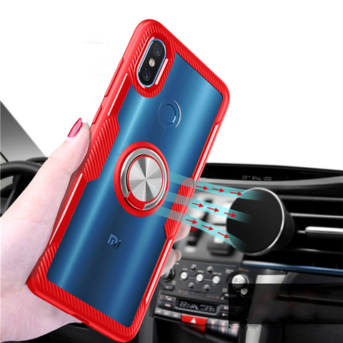 Transparent Silicone Case For Xiaomi Mi 9 8 SE Lite Shockproof Armor Metal Ring Holder Stand Back Covers Xiaomi Mi8 Cases Mi9 On Multan