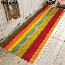 Thregost nadruk w paski długie dywaniki 3D dywaniki modlitewne muzułmańskie wycieraczka wewnętrzna z pianki Memory miękkie dywaniki kuchenne