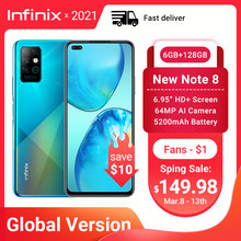 Novo infinix nota 8 6gb 128gb versão global do telefone móvel 6.95 hd hd hd + display 5200mah bateria 18w carga rápida núcleo helicoidal g80 octa