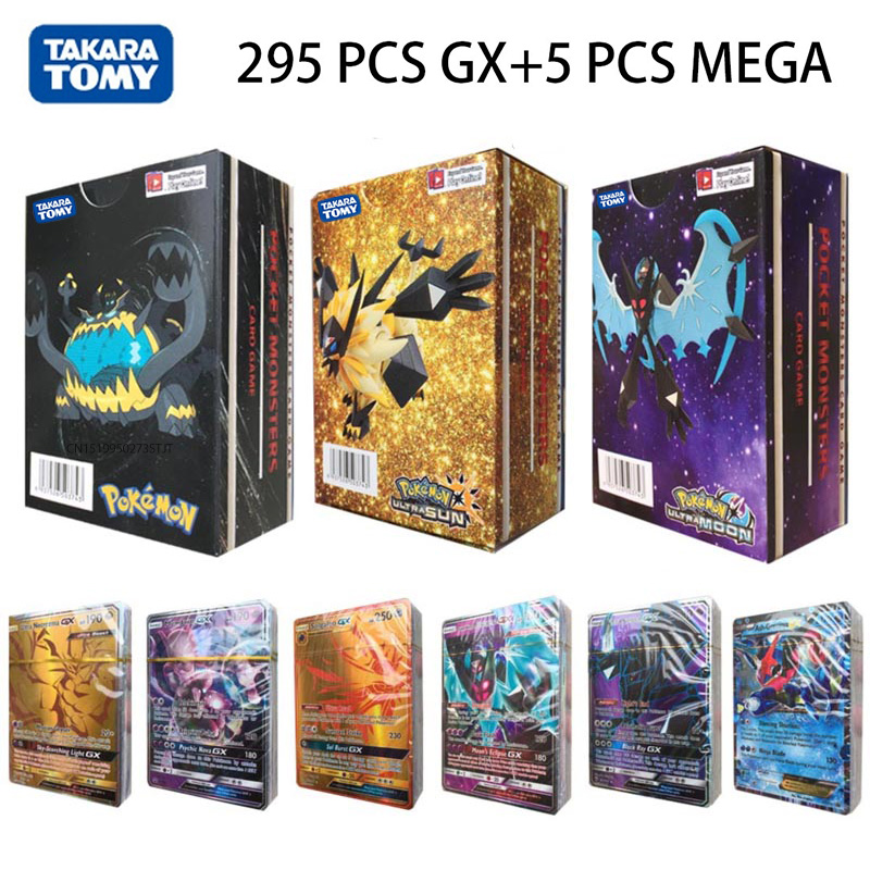 TOMY 300pcs/box Pokemon Cards GX MEGA Flash Card Sun & Moon Series Trading Card Game Children Toys