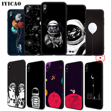 IYICAO Space Astronaut Moon Soft Phone Case for iPhone 11 Pro XR X XS Max 6 6S 7 8 Plus 5 5S SE Silicone TPU
