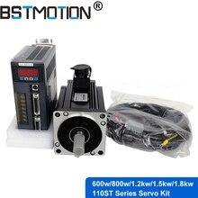 Серводвигатель переменного тока 600 Вт 800 Вт 1,2 кВт 1,5 кВт 1,8 кВт 110ST с сервоприводом + 3 метровый кабель энкодера для фрезерного станка с ЧПУ