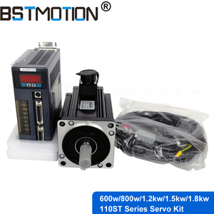 Image 1 - 600W 800W 1.2KW 1.5KW 1.8KW 110ST AC Servo Motor with Servo Driver+ 3 Meter Encoder Cable for CNC router milling spindle motor