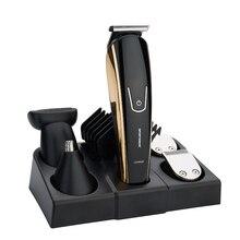 Profesyonel saç düzeltici şarj edilebilir elektrikli saç kesme erkek çocuk saç kesme 5IN1 çok ayarlanabilir seramik bıçak