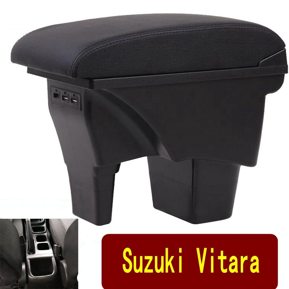 Подлокотник для Suzuki Vitara, Универсальная автомобильная центральная консоль, аксессуары для модификации caja, двойной приподнятый с USB
