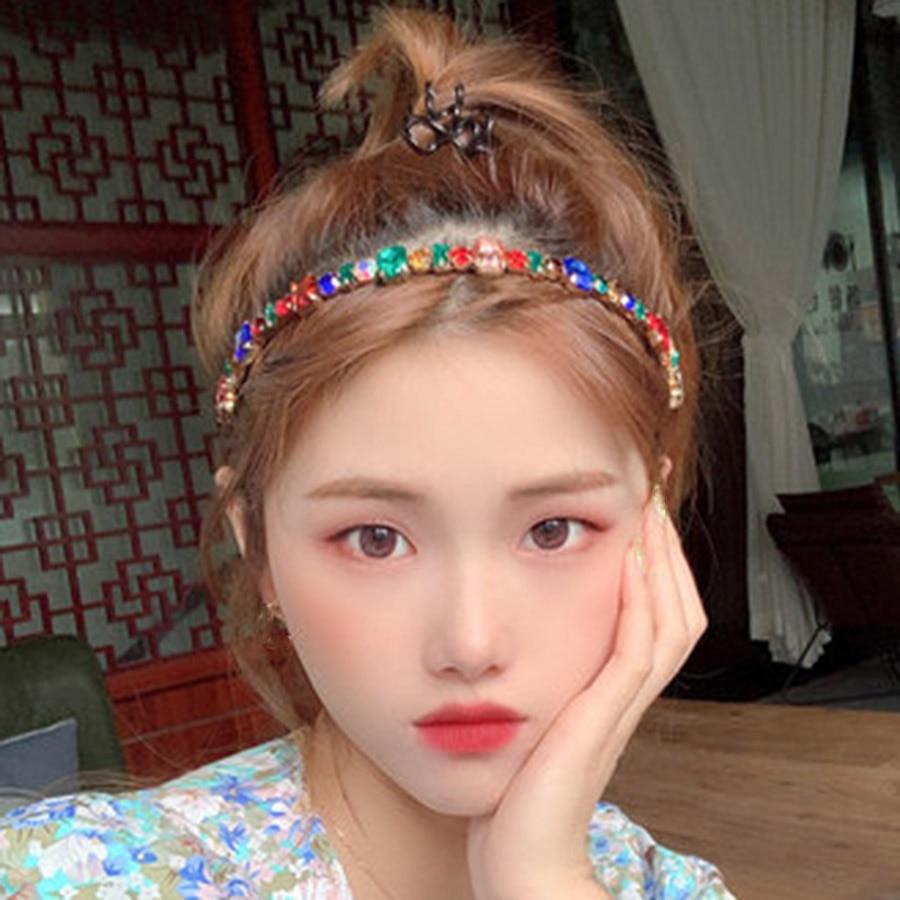 Haimeikang Fashion Rhinestone Hairband Headband Diamond Head Hoop For Women Elegant Bezel Headwear Retro Hair Accessories